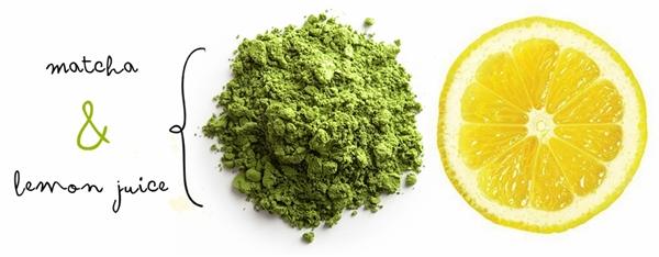 bột trà xanh và chanh